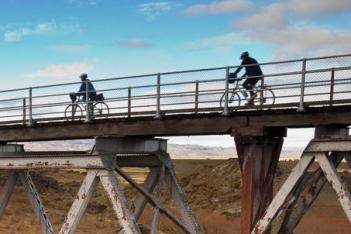 Cycling on a bridge