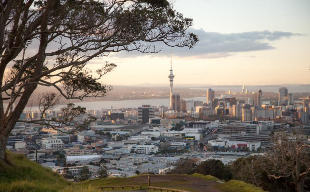 Auckland city skyline from Mt Eden