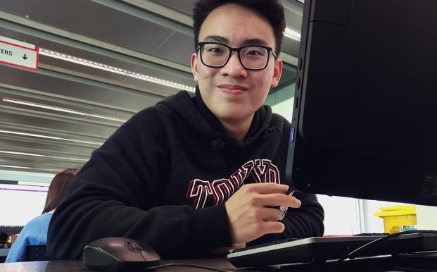 International student Matthew studying for exams in New Zealand