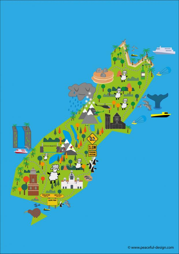 South Island Map Of New Zealand.My Maps Of New Zealand Study In New Zealand