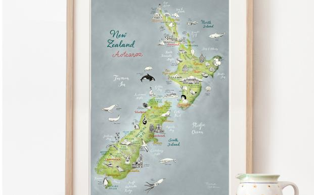 Theresa's illustrated map of New Zealand