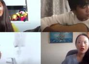 4 international students talk online