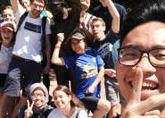 Matthew Le in a selfie with some friends he made at a university social event