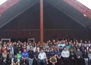 Monica and her classmates at the AUT marae