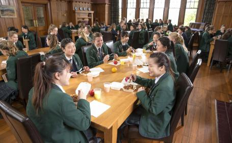 Secondary School Students enjoying lunch in Dunedin